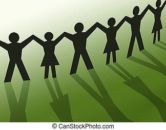 collaboration, gens, silhouette, communauté, illustration
