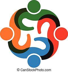 collaboration, groupe, 4, personnes réunion