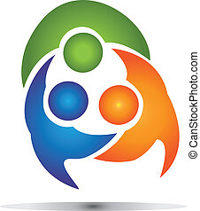 collaboration, groupe, business, logo