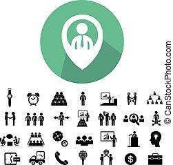 collaboration, icône, ensemble, business