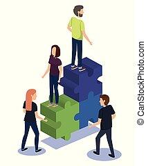 collaboration, morceaux puzzle, groupe, gens