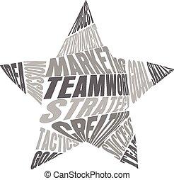 collaboration, mots, étoile, signification