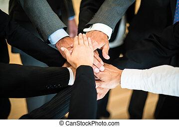 collaboration, -, pile, mains