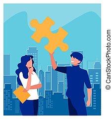 collaboration, puzzle, morceau, affaires gens