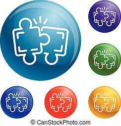 collaboration, puzzle, vecteur, ensemble, icônes