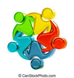 collaboration, social, logo, média, 3d