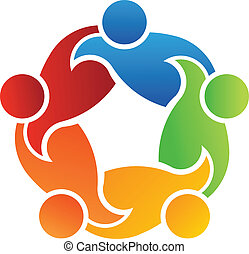collaboration, soutien, 5, logo