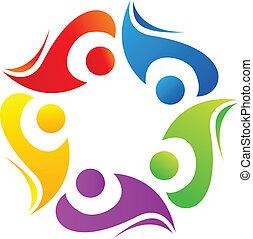 collaboration, vecteur, diversité, logo