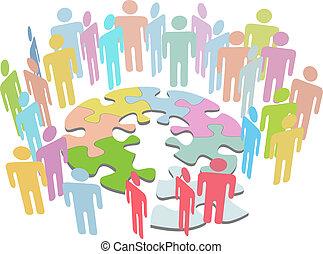 collaborer, gens, puzzle, solution, résoudre, problème, trouver