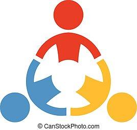 collaborer, gens., vecteur, collaboration, logo