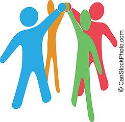 collaborer, joindre, gens, mains haut, ensemble, équipe