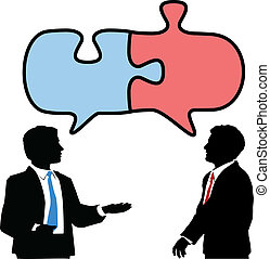 collaborer, professionnels, puzzle, relier, parler