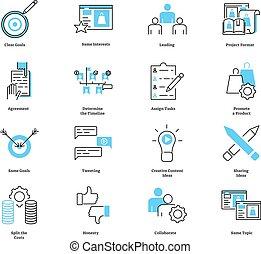collaborer, symbols., co, commercialisation, illustration, vecteur, collection., icône