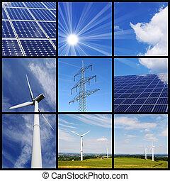 collage, énergie, vert