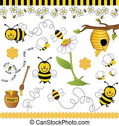 collage, abeille, numérique