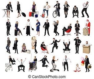 collage, actif, gens