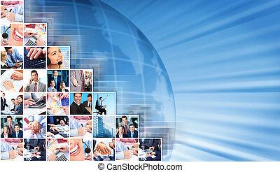 collage, arrière-plan., professionnels