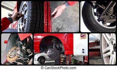 collage, auto, magasin, réparation