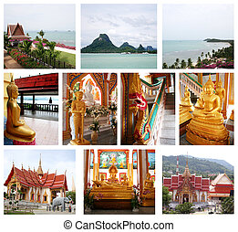 collage, beau, thaïlande