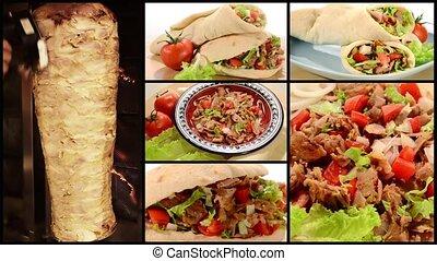 collage, chiche-kebab, doner