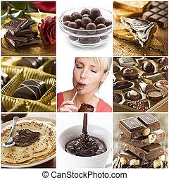 collage, chocolat
