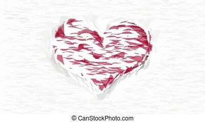 collage, coeur, blanc, animé, rouges