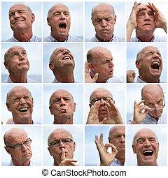 collage, confection, homme, faces