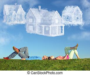 collage, couple, trois, maisons, mensonge, herbe, rêve, nuage