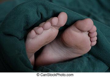 collage, couverture, confort, dormir, pieds, dehors