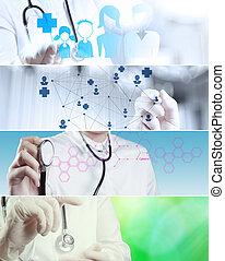 collage, divers, concept médical, moderne