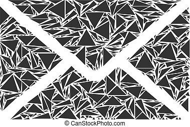 collage, envoyer enveloppe, triangles