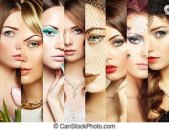 collage., faces, beauté, femmes