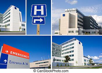 collage, hôpital, moderne
