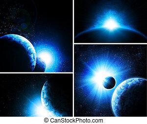 collage, images, 4, planètes