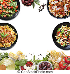 collage, ingrédients, pâtes, repas, italien nourriture