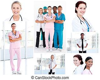 collage, jeune, médecins