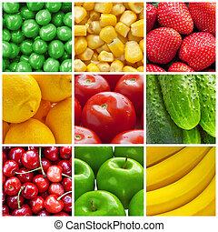 collage, légumes frais, fruits