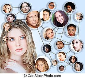 collage, média, concept, réseau, social