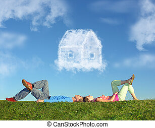 collage, maison, couple, herbe, rêve, mensonge