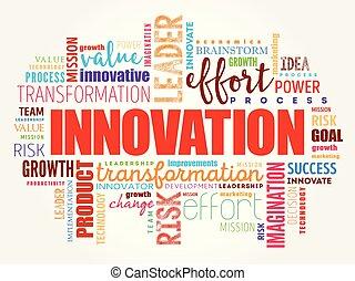 collage, mot, nuage, innovation