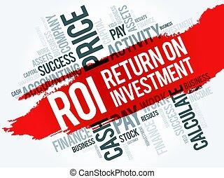 collage, mot, retour, investissement, nuage