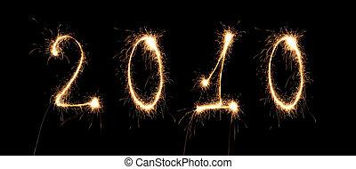 collage, nombre, sparkler, année, nouveau, 2010