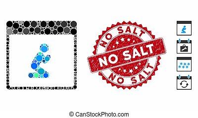 collage, non, icône, calendrier, page, sel, gratté, timbre, personne, prier