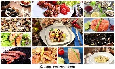 collage, nourriture, différent, plats