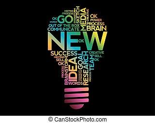 collage, nouveau, mot, nuage, ampoule
