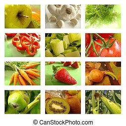 collage, nutrition, nourriture saine