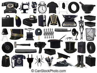 collage, objets, noir