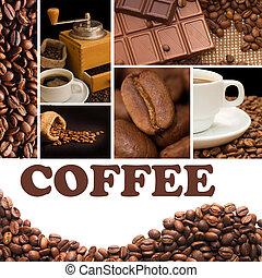 collage, parfumé, café