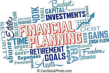 collage, planification financière, mot