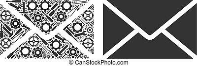 collage, réparation, enveloppe, outils, courrier